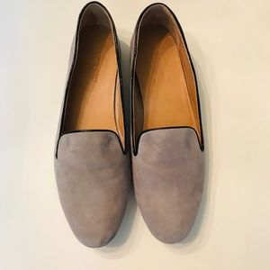 Women's J. Crew Gray Suede Smoking Slippers - 8.5